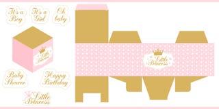 Baby shower för mallen för det lilla prinsessapartiet dör den tryckbara, födelsedag den pappers- asken Tryck och snitt Royaltyfria Bilder