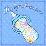 Baby shower with feeding bottle Stock Photos