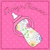 Baby shower with feeding bottle Stock Photo