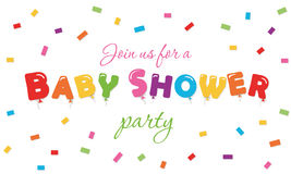 Baby shower festive background. Party invitation banner with balloon colored letters and confetti. Vector EPS10 Royalty Free Stock Photography