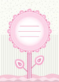 Baby Shower flower card for baby girl Stock Photo