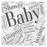 Baby shower footprint invitations word cloud concept  background Stock Photos