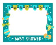 Baby shower frame boy photo booth props. Baby shower frame for boy. Photo booth props for birthday party. Nursery blue template design with bottle, sock, nipple royalty free illustration