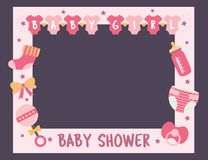 Baby shower frame girl photo booth props. Baby shower frame for girl. Photo booth props for birthday party. Nursery pink template design with bottle, sock vector illustration