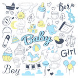 Baby Shower Freehand Doodle. Newborn Hand Drawn Elements Set with Boy and Girl. Vector illustration Stock Photos