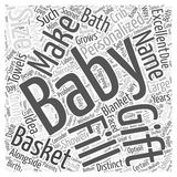 Baby shower gift basket word cloud concept vector background. Text stock illustration