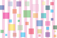 Baby Shower Gift Box 10. Pink & white Striped pattern with floating multi- colored squares Royalty Free Stock Photography