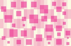 Baby Shower Gift Box 6. Pink & Pale Yellow Checker pattern with floating hot pink squares Royalty Free Stock Photos