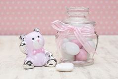 Baby shower. Gift and candy Royalty Free Stock Image