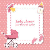 Baby shower gir. L, invitation card. Place for text.  Greeting cards Stock Photos