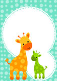 Baby Shower Giraffe Invitation Card. Invitation card with mom giraffe and baby. Space to put text above giraffes Royalty Free Stock Photo