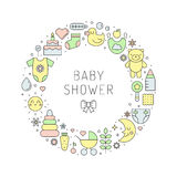 Baby shower girl & boy cute outline vector circle illustration Stock Photo