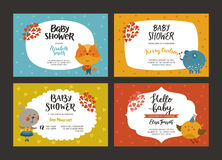 Baby shower girl and boy invitations. Vector templates with animals. Shower cards with fox, elephant, rabbit and bird stock illustration