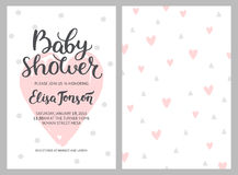 Baby shower girl and boy invitations, vector templates.. Shower pastel cards with hearts and hand drawn text on white background Stock Images