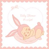 Baby shower girl in a bunny costume Royalty Free Stock Images