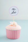 Baby shower girl cupcake Royalty Free Stock Photography