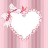 Baby shower girl heart frame and ribbon Stock Photography