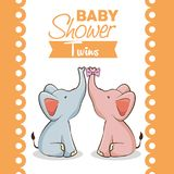 Baby shower girl invitation card. Baby shower twins invitation card vector illustration graphic design Royalty Free Stock Photo