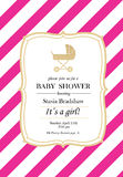 Baby shower girl. Baby-girl shower invitation card with golden glitter stroller Royalty Free Stock Photo