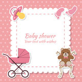 Baby shower girl, invitation card. Place for text.  Greeting car. Ds. Vector illustration Royalty Free Stock Images