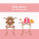 Baby shower girl. Invitation card. Place for text.  Greeting cards. Vector illustration Royalty Free Stock Photography