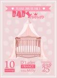 Baby shower girl invitation template vector illustration with pink crib vector illustration