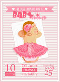 Baby shower girl invitation template vector illustration. Pink, rose, red colors. Illustration of baby girl in pink Stock Photo