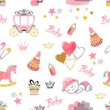 Baby Shower girl seamless pattern. Vector watercolor kids background Stock Photos