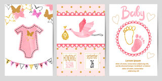 Baby shower girl set. Vector invitation cards Stock Photography