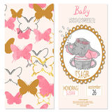 Baby shower girl. Vector invitation card design Royalty Free Stock Photo