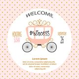 Baby shower girl. Card design with  princess carriage. Stock Images