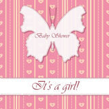 Baby shower girl vintage with butterfly banner. Vector baby shower girl vintage with butterfly banner Stock Photo
