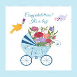 Baby shower greeting for boy. Decorative background with illustration of flowers and pram stock illustration