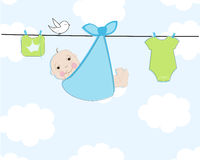 Baby shower greeting card with baby and baby dress vector illustration Stock Image