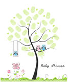 Baby shower greeting card. Baby boy. Baby owl. Owl family with made of finger prints tree vector illustration. Baby shower greeting card. Baby boy. Baby owl. Owl Royalty Free Stock Photos