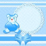 Baby shower, greeting card for baby boy Stock Images