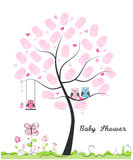 Baby shower greeting card. Baby girl. Baby owl. Owl family with made of finger prints tree vector illustration. Baby shower greeting card. Baby girl. Baby owl Royalty Free Stock Photo
