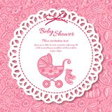 Baby shower, greeting card for baby girl Stock Images