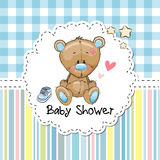 Baby Shower Greeting Card with Bear Royalty Free Stock Image