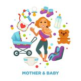 Baby shower greeting card for boy or girl child birth or invitation poster. Vector baby, toys or diapers and child carriage or pram icons for happy motherhood Royalty Free Stock Photos