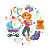 Baby shower greeting card for boy or girl child birth or invitation poster. Vector baby, toys or diapers and child carriage or pram icons for happy motherhood Stock Photos