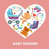 Baby shower greeting card for boy or girl child birth or invitation poster. Vector baby, toys or diapers and child carriage or pram icons for happy motherhood Stock Photography
