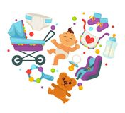 Baby shower greeting card for boy or girl child birth or invitation poster. Vector baby, toys or diapers and child carriage or pram icons for happy motherhood Royalty Free Stock Image