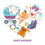 Baby shower greeting card for boy or girl child birth or invitation poster. Vector baby, toys or diapers and child carriage or pram icons for happy motherhood Stock Photo