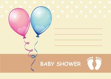 Baby shower greeting card boy and girl stock illustration