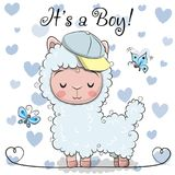 Baby Shower Greeting Card with cute Alpaca boy. Baby Shower Greeting Card with cute Blue Alpaca boy royalty free illustration