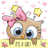Baby Shower Greeting Card with Owl girl royalty free illustration