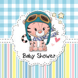 Baby Shower Greeting Card. With cute Cartoon Tiger stock illustration