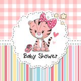 Baby Shower Greeting Card. With cute Cartoon Tiger girl royalty free illustration