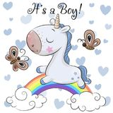 Baby Shower Greeting Card with cute Unicorn boy royalty free illustration